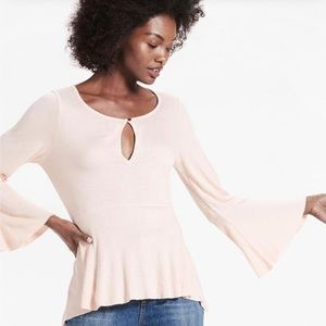 Lucky Brand Washed Blush Bell Sleeve Top